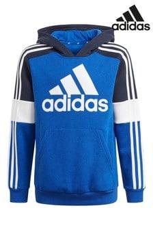 سترة ذات قلنسوة ألوان سادة أزرق من adidas