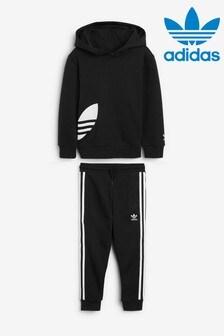 adidas Originals Little Kids Black Hoody And Jogger Set