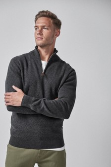 Cotton Premium Zip Neck Jumper
