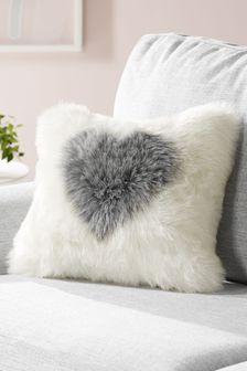 Natural Faux Fur Heart Cushion