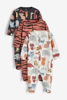 3 Pack Multi Character And Tiger Print Sleepsuits (0mths-2yrs)