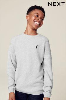 Teksturowany sweter z okrągłym dekoltem (3-16 lat)
