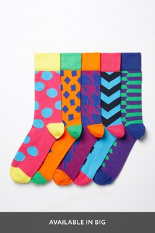 Large Geo Pattern Socks Five Pack