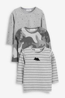 Набор из трех футболок с полосками и камуфляжным принтом (0 мес. - 2 лет)