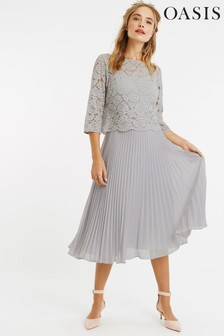 Oasis Grey Lace Top Midi Dress