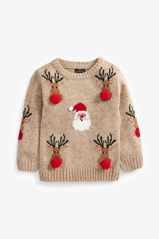 Christmas Santa And Reindeer Pom Pom Jumper (3mths-7yrs)