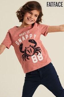 Ružové tričko FatFace s grafikou Make It Snappy