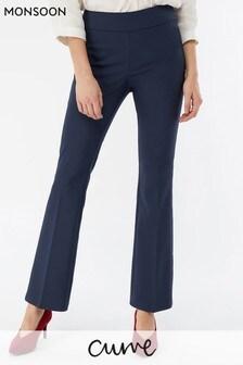 Monsoon Ladies Blue Matilda Slim Flare Trouser