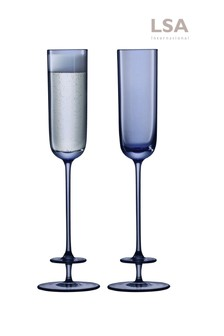 Set of 2 LSA International Champagne Theatre Navy Champagne Flutes