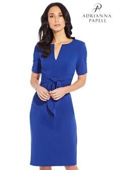 Robe fourreau Adrianna Papell bleue en maille de crêpe avec liens