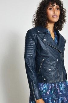 Harpenne Navy Biker Leather Jacket