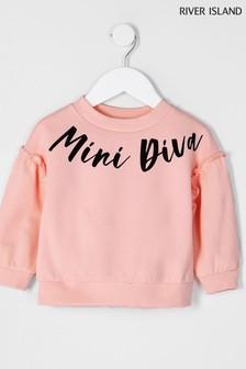 River Island Pink Light Diva Slogan Sweater