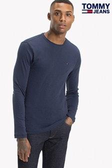 חולצת טי עם שרוולים ארוכים מבד ריב של Tommy Jeans Original כחול
