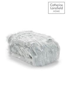 Catherine Lansfield Silver Metallic Faux Fur Throw