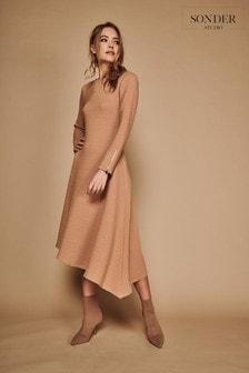 Sonder Studio Cream Rib Asymmetric Dress