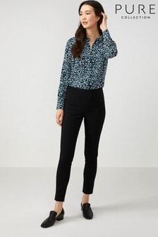 Черные хлопчатобумажные стретчевые узкие брюки Pure Collection