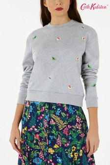 Cath Kidston® Grey Bathing Frogs Embroidered Sweater