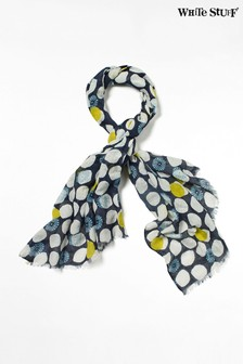 White Stuff Blue Lori Cotton Linen Scarf