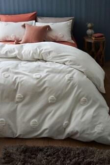 Set aus Bett- und Kissenbezug mit getuftetem Punktmuster aus reiner Baumwolle