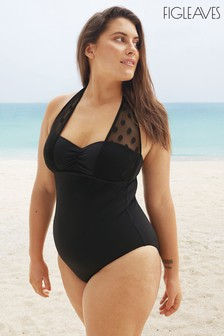 Figleaves Black Icon Spot Underwired Mesh Shaping Swimsuit