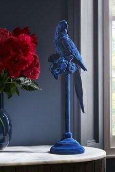 Blue Flocked Parrot Ornament