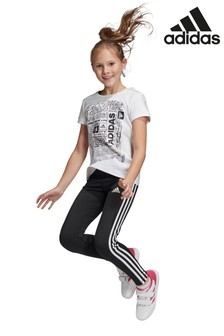 adidas Black Training 3 Stripe Leggings