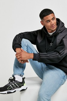 adidas Originals ブラック ビッグトレフォイル パーカー