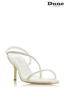 Dune London Marion Ivory Satin Crystal Barely There Heeled Wedding Sandals