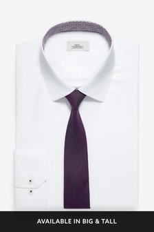 Slim Fit Shirt With Trimmed Detail And Tie Set