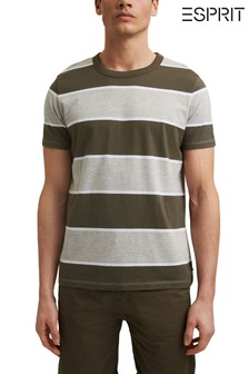 Esprit Green Striped T-Shirt In Organic Cotton