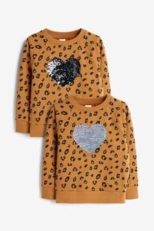 Ochrowa bluzka z okrągłym dekoltem i sercem z cekinów (3-16 lat)