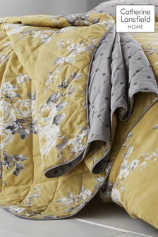 Catherine Lansfield Ochre Reversible Canterbury Floral Quilted Bedspread