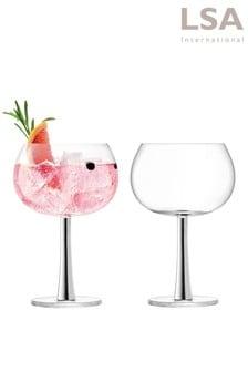 Lot de 2 verres à gin LSA International couleur platine