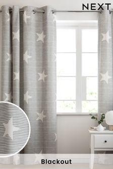 Grey Brushed Stripe Blackout Eyelet Curtains