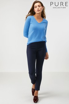 Pure Collection Blue Cotton Stretch Skinny Trouser
