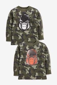 T-shirt met gorillaprint en lovertjes (3-16 jr)