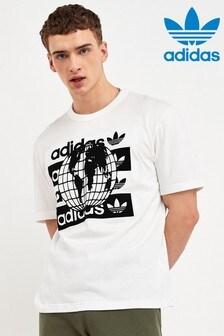 Camisa blanca con estampado de globo terráqueo R.Y.V de adidas Originals