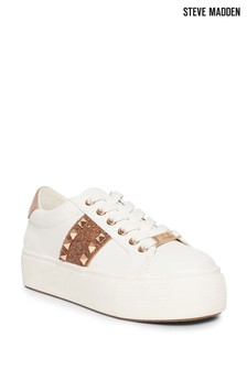 Steve Madden White And Rose Gold Escala Trainers