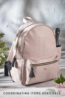 Blush Faux Croc Picnic Backpack