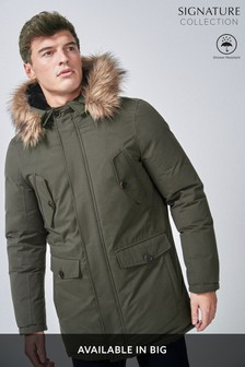 Signature Shower Resistant Down Filled Parka With Detachable Faux Fur Trim