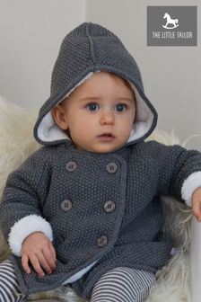 The Little Tailor Gefütterter Kinderwagenmantel aus Plüsch, grau