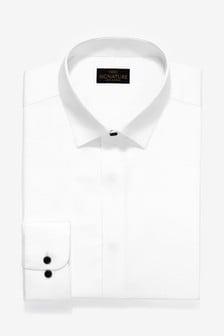 Signature緞面隱藏式前襟襯衫