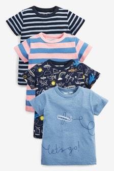 Lot de 4 t-shirts motif avion (3 mois - 7 ans)