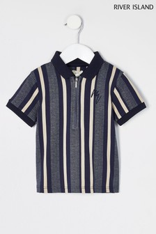 River Island White Blue Stripe Zip Neck Polo