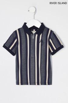 River Island Poloshirt mit Reißverschluss am Hals, weiß-blau gestreift