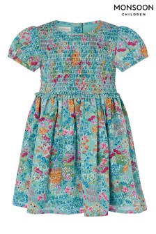 Monsoon藍色嬰兒裝小野花圖案永續材質聚酯纖維連衣裙
