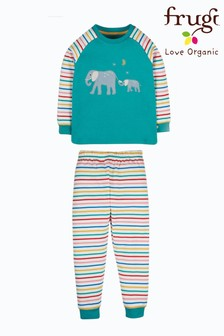 Frugi Green Stripe Elephant Organic Cotton Pyjama Set