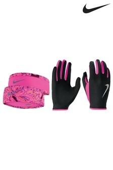Nike set van roze hoofdband en handschoenen