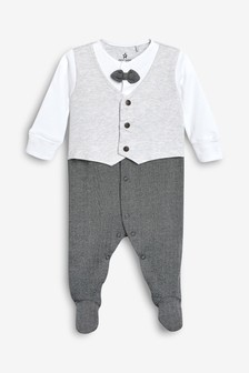 Smart Bow Tie Sleepsuit (0-2yrs)