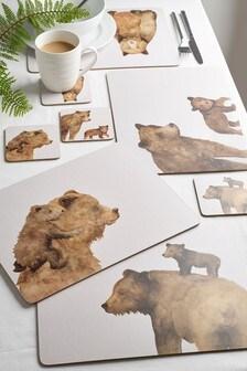 Pogrinjki in podstavki, komplet 4 z medvedki